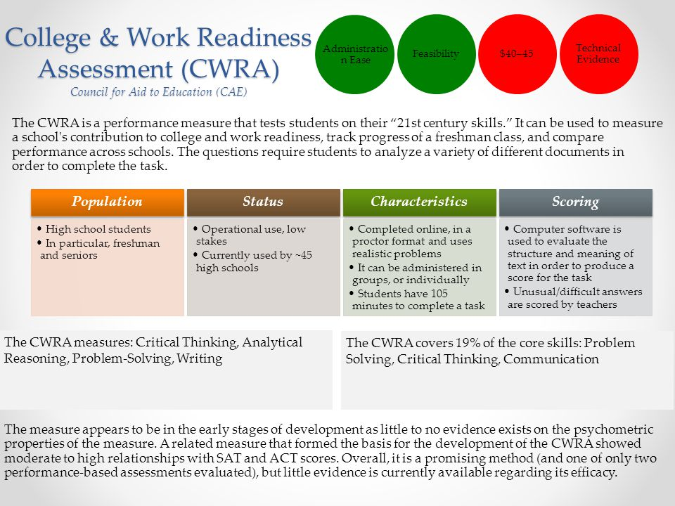 """College & Work Readiness Assessment (CWRA) Council for Aid to Education (CAE) The CWRA is a performance measure that tests students on their """"21st cen"""