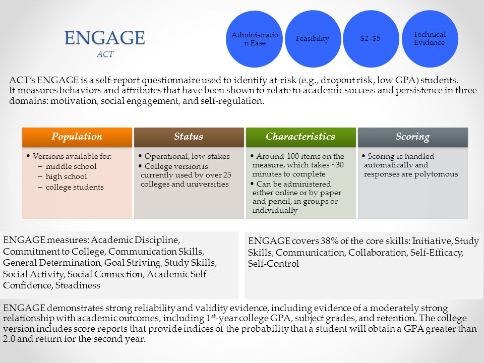 ENGAGE ACT ACT's ENGAGE is a self-report questionnaire used to identify at-risk (e.g., dropout risk, low GPA) students. It measures behaviors and attr