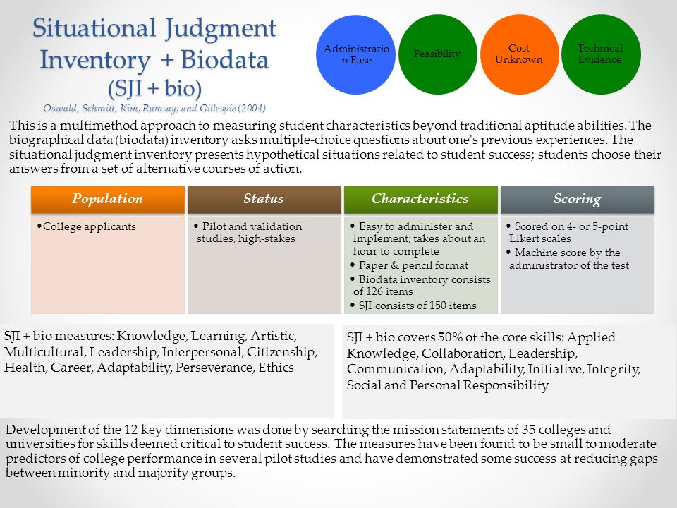 Situational Judgment Inventory + Biodata (SJI + bio) Oswald, Schmitt, Kim, Ramsay, and Gillespie (2004) This is a multimethod approach to measuring st