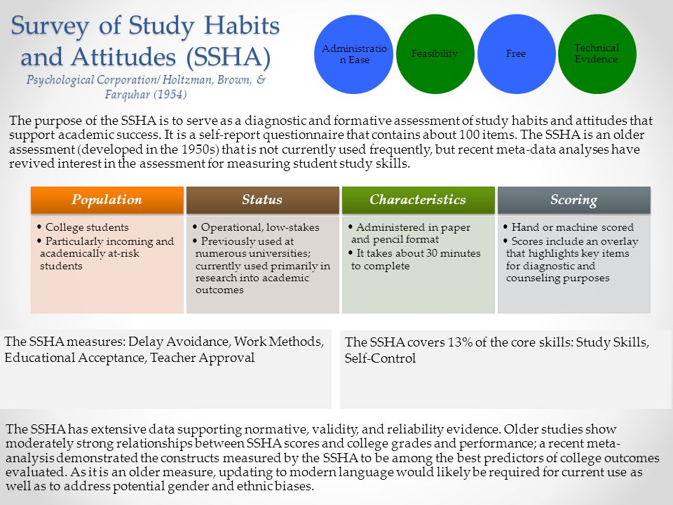 Survey of Study Habits and Attitudes (SSHA) Psychological Corporation/ Holtzman, Brown, & Farquhar (1954) The purpose of the SSHA is to serve as a dia