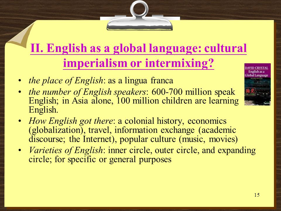 14 I. A Framework of TESOL English language teaching and learning: language, education, psychology Theoretical Underpinning: First language education,