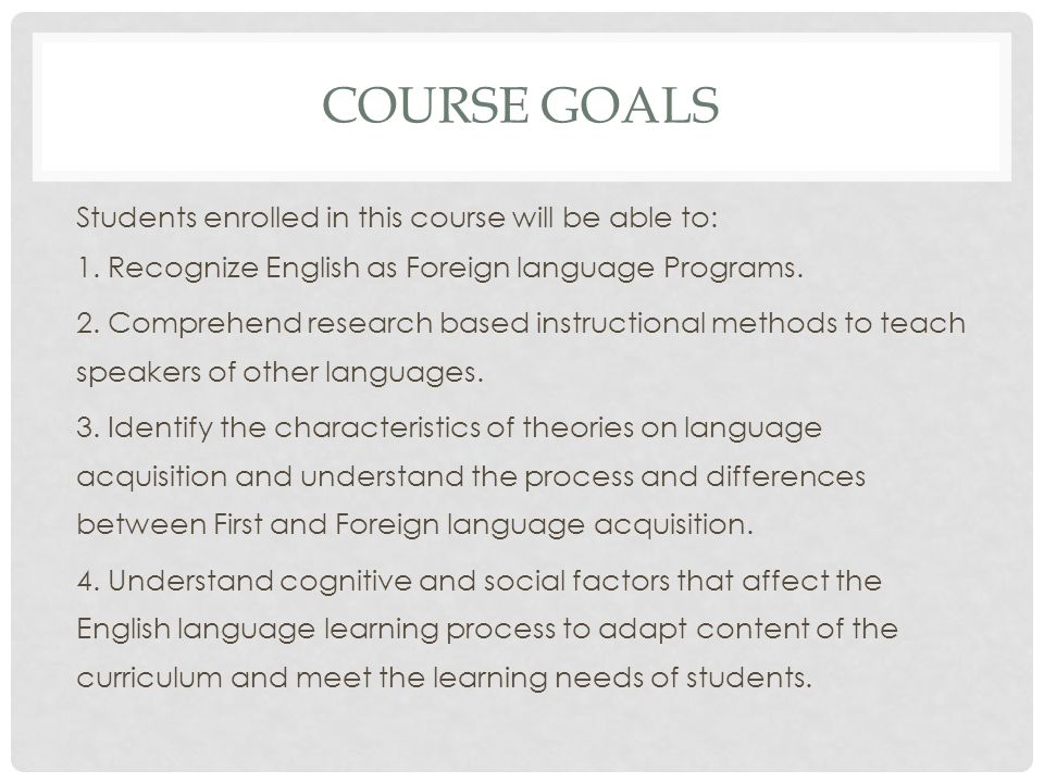 COURSE DESCRIPTION This course is an introduction to the teaching of English to speakers of other languages (TESOL) intended for those who contemplate