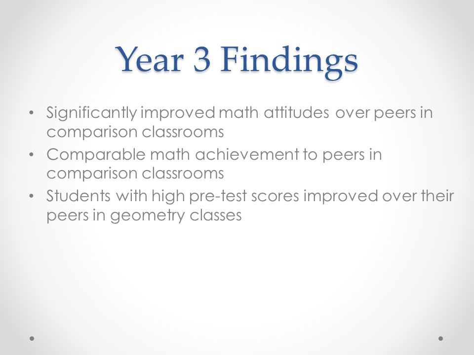 Year 3 Findings Significantly improved math attitudes over peers in comparison classrooms Comparable math achievement to peers in comparison classroom