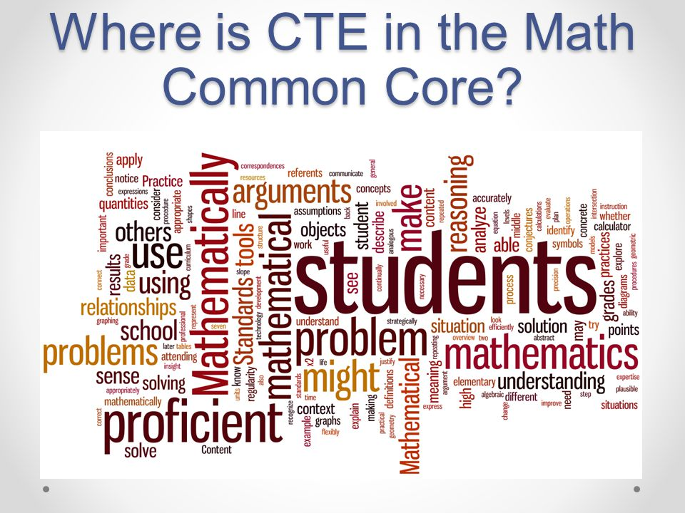 Where is CTE in the Math Common Core?