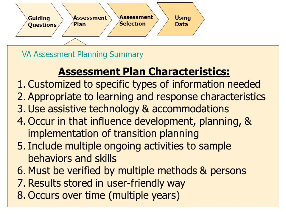 Assessment Plan Characteristics: 1.Customized to specific types of information needed 2.Appropriate to learning and response characteristics 3.Use ass