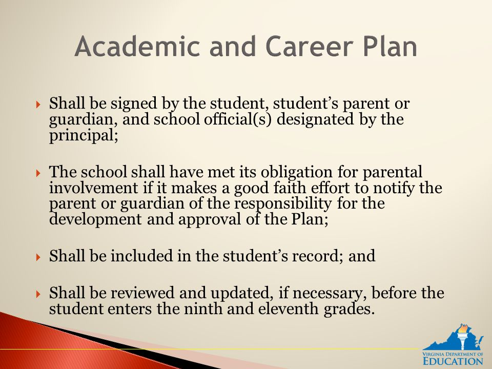  Shall be signed by the student, student's parent or guardian, and school official(s) designated by the principal;  The school shall have met its obligation for parental involvement if it makes a good faith effort to notify the parent or guardian of the responsibility for the development and approval of the Plan;  Shall be included in the student's record; and  Shall be reviewed and updated, if necessary, before the student enters the ninth and eleventh grades.