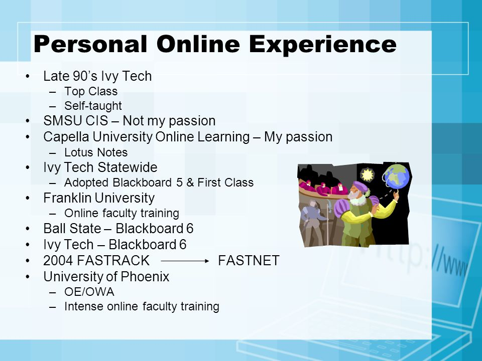 Online Faculty Certification Course Online experience The expectations The participants The results