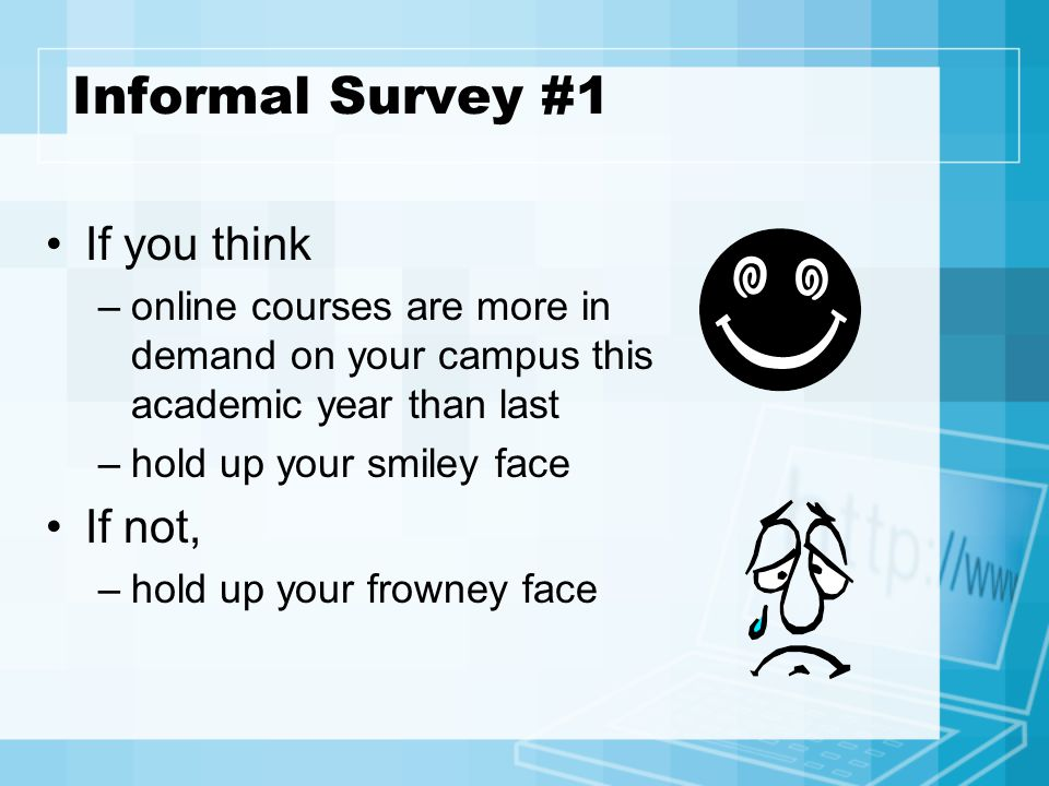 Informal Survey #1 If you think –online courses are more in demand on your campus this academic year than last –hold up your smiley face If not, –hold up your frowney face