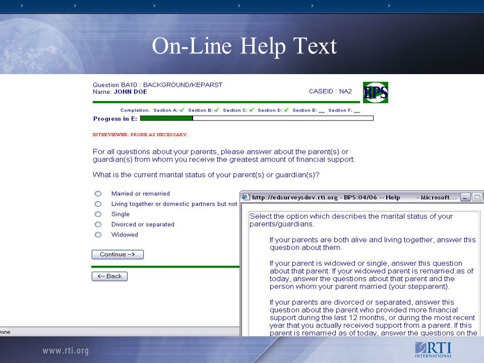 20 On-Line Help Text Source: BPS FT