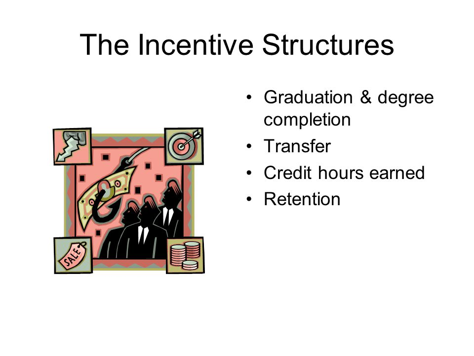 The Incentive Structures Graduation & degree completion Transfer Credit hours earned Retention