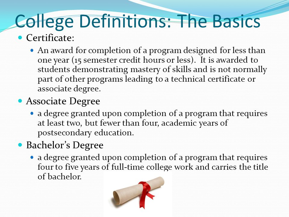 College Definitions: The Basics Certificate: An award for completion of a program designed for less than one year (15 semester credit hours or less).