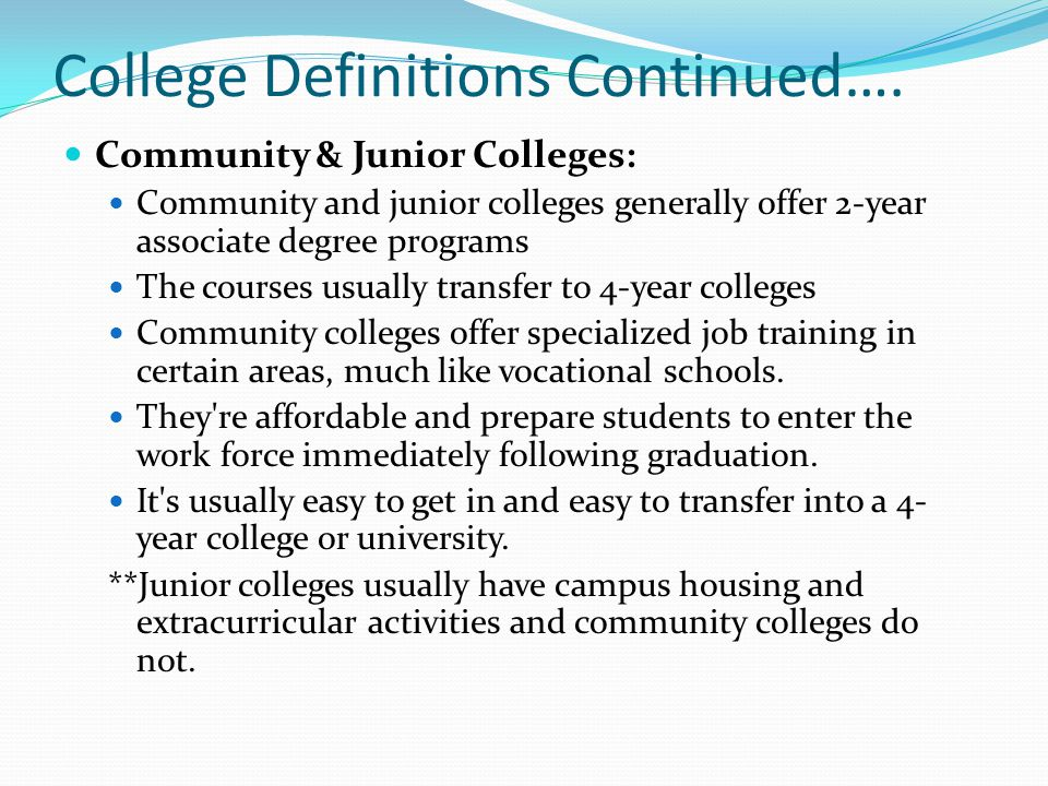 College Definitions Continued….