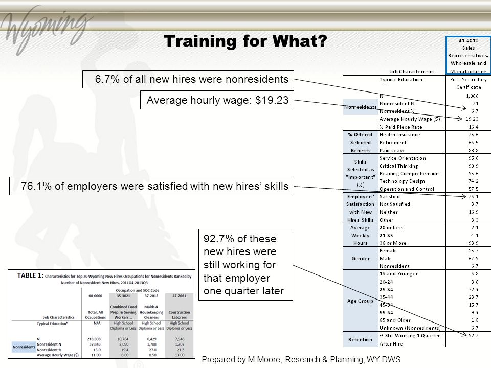 Training for What? 6.7% of all new hires were nonresidents Average hourly wage: $19.23 76.1% of employers were satisfied with new hires' skills 92.7%