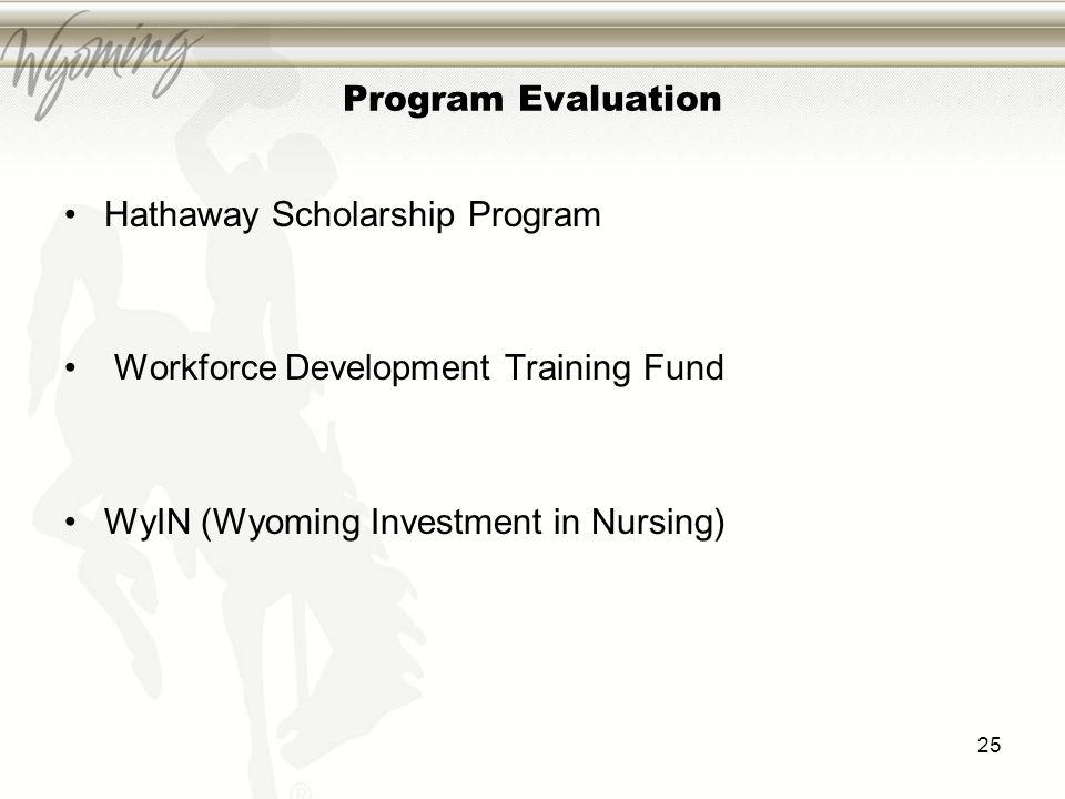 Program Evaluation Hathaway Scholarship Program Workforce Development Training Fund WyIN (Wyoming Investment in Nursing) 25