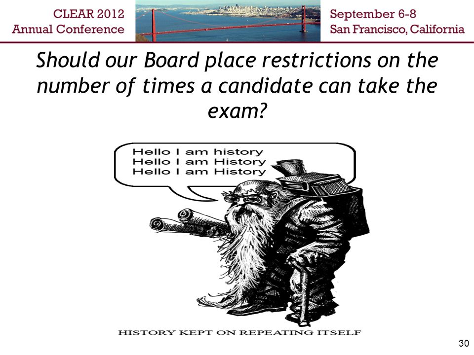 30 Should our Board place restrictions on the number of times a candidate can take the exam?