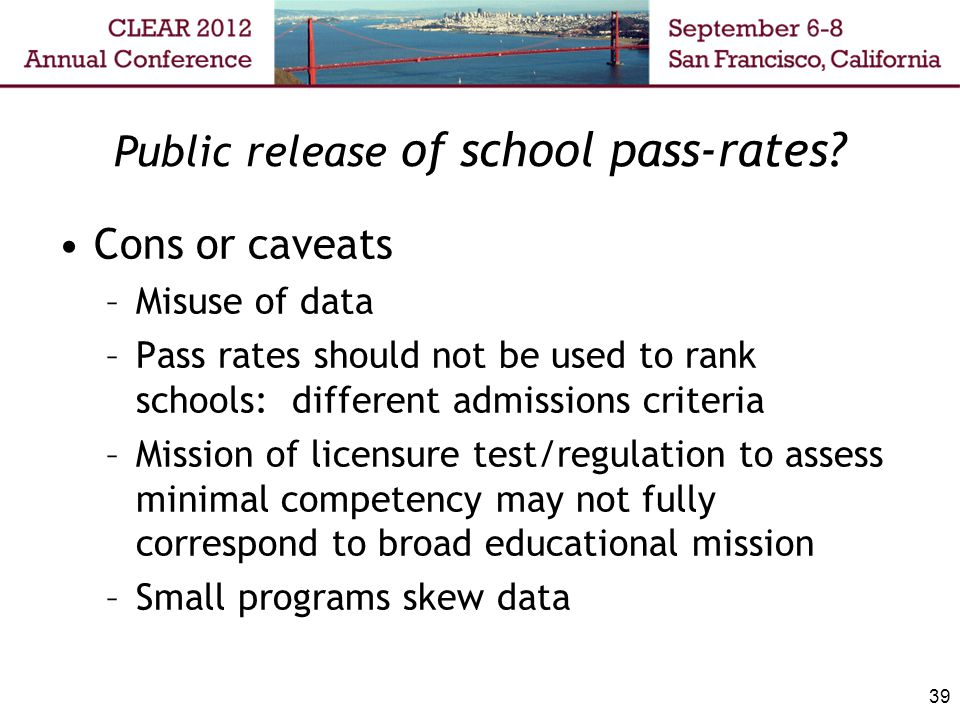 Public release of school pass-rates.