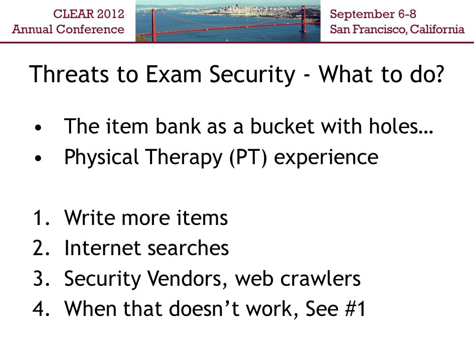 Threats to Exam Security - What to do.