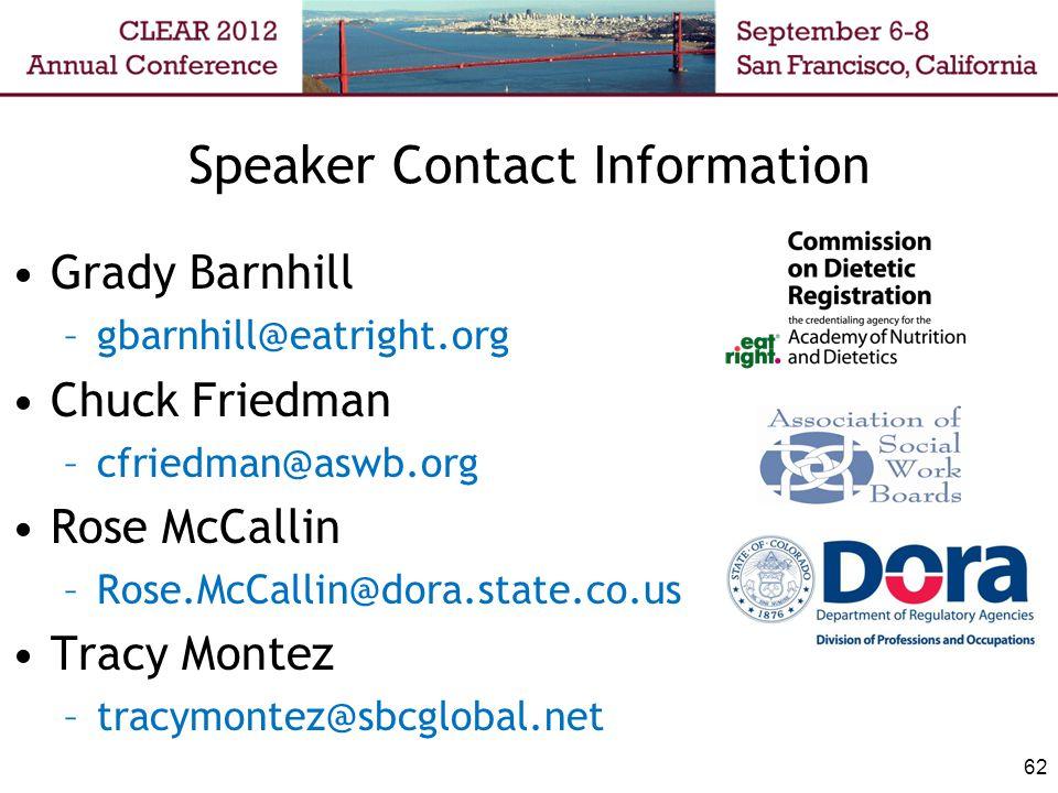 62 Speaker Contact Information Grady Barnhill –gbarnhill@eatright.org Chuck Friedman –cfriedman@aswb.org Rose McCallin –Rose.McCallin@dora.state.co.us Tracy Montez –tracymontez@sbcglobal.net