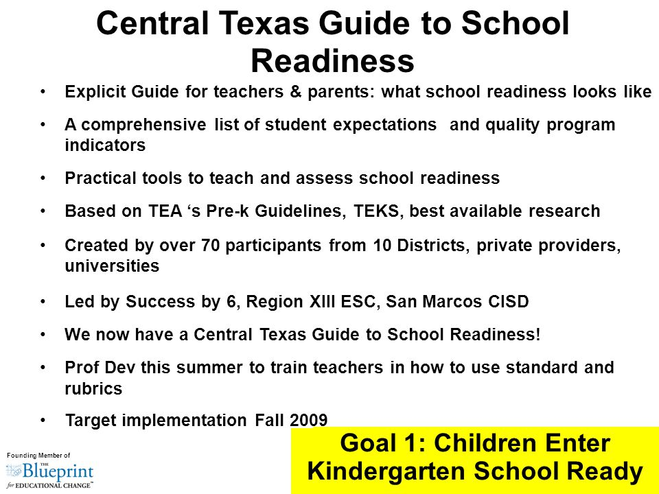 Founding Member of Explicit Guide for teachers & parents: what school readiness looks like A comprehensive list of student expectations and quality program indicators Practical tools to teach and assess school readiness Based on TEA 's Pre-k Guidelines, TEKS, best available research Created by over 70 participants from 10 Districts, private providers, universities Led by Success by 6, Region XIII ESC, San Marcos CISD We now have a Central Texas Guide to School Readiness.
