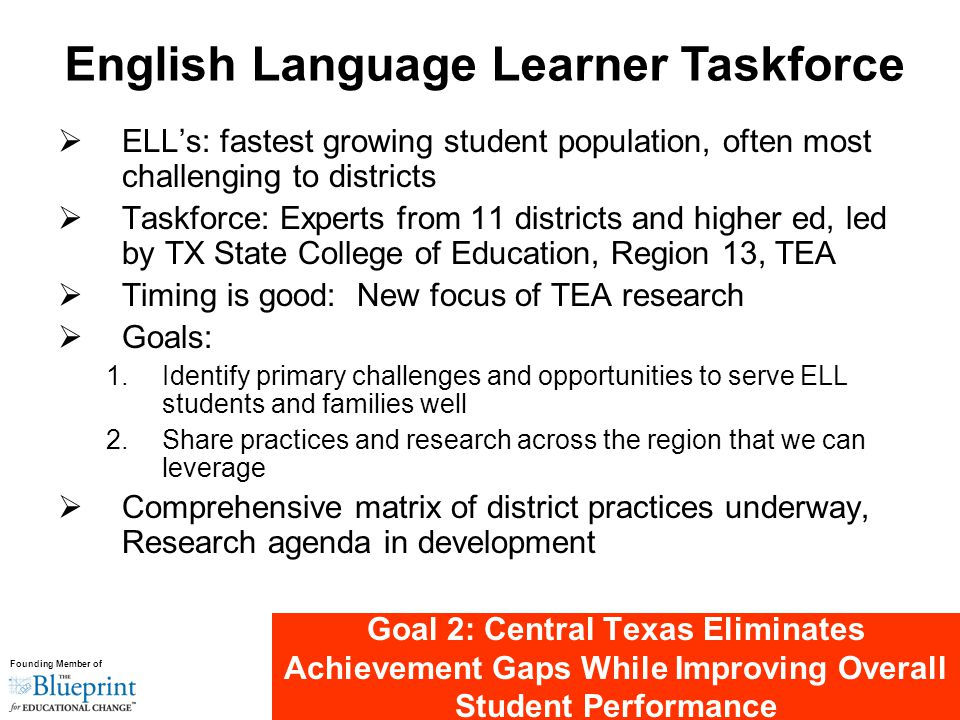 Founding Member of Goal 2: Central Texas Eliminates Achievement Gaps While Improving Overall Student Performance  ELL's: fastest growing student population, often most challenging to districts  Taskforce: Experts from 11 districts and higher ed, led by TX State College of Education, Region 13, TEA  Timing is good: New focus of TEA research  Goals: 1.Identify primary challenges and opportunities to serve ELL students and families well 2.Share practices and research across the region that we can leverage  Comprehensive matrix of district practices underway, Research agenda in development English Language Learner Taskforce