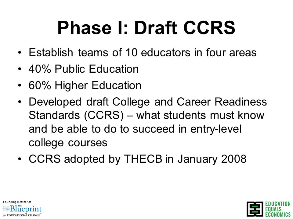 Founding Member of Phase I: Draft CCRS Establish teams of 10 educators in four areas 40% Public Education 60% Higher Education Developed draft College and Career Readiness Standards (CCRS) – what students must know and be able to do to succeed in entry-level college courses CCRS adopted by THECB in January 2008