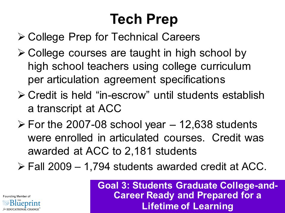 Founding Member of Goal 3: Students Graduate College-and- Career Ready and Prepared for a Lifetime of Learning  College Prep for Technical Careers  College courses are taught in high school by high school teachers using college curriculum per articulation agreement specifications  Credit is held in-escrow until students establish a transcript at ACC  For the 2007-08 school year – 12,638 students were enrolled in articulated courses.