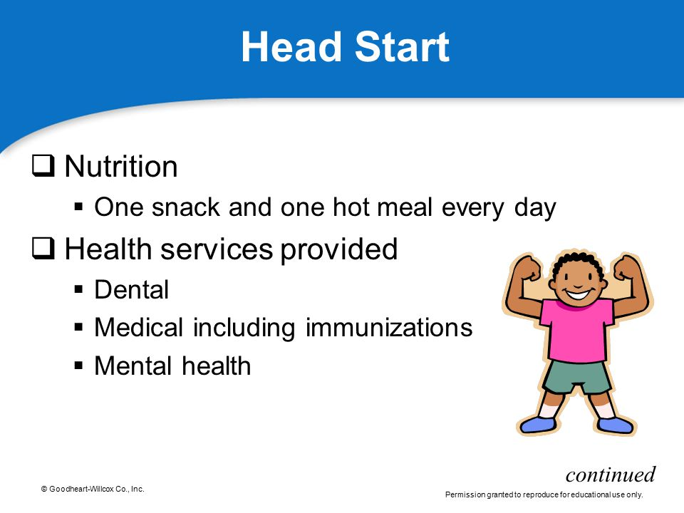 © Goodheart-Willcox Co., Inc. Permission granted to reproduce for educational use only. Head Start  Nutrition  One snack and one hot meal every day