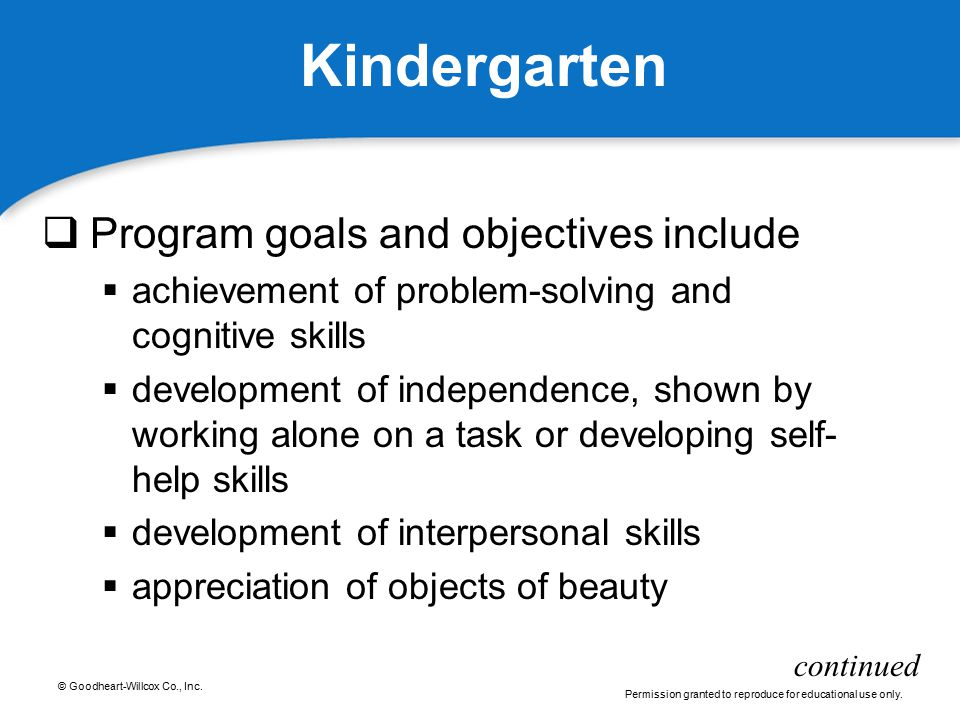 © Goodheart-Willcox Co., Inc. Permission granted to reproduce for educational use only. Kindergarten  Program goals and objectives include  achievem
