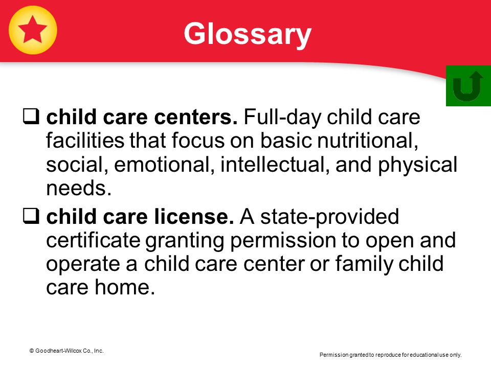 © Goodheart-Willcox Co., Inc. Permission granted to reproduce for educational use only. Glossary  child care centers. Full-day child care facilities