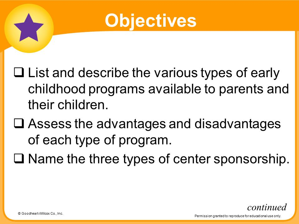 © Goodheart-Willcox Co., Inc. Permission granted to reproduce for educational use only. Objectives  List and describe the various types of early chil