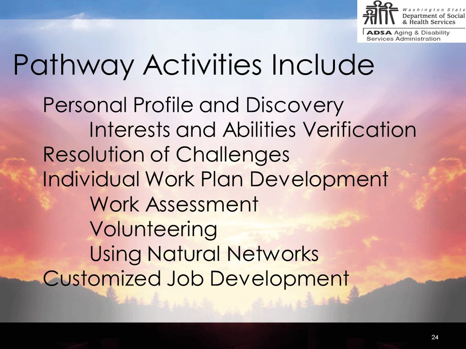 24 Pathway Activities Include Personal Profile and Discovery Interests and Abilities Verification Resolution of Challenges Individual Work Plan Development Work Assessment Volunteering Using Natural Networks Customized Job Development