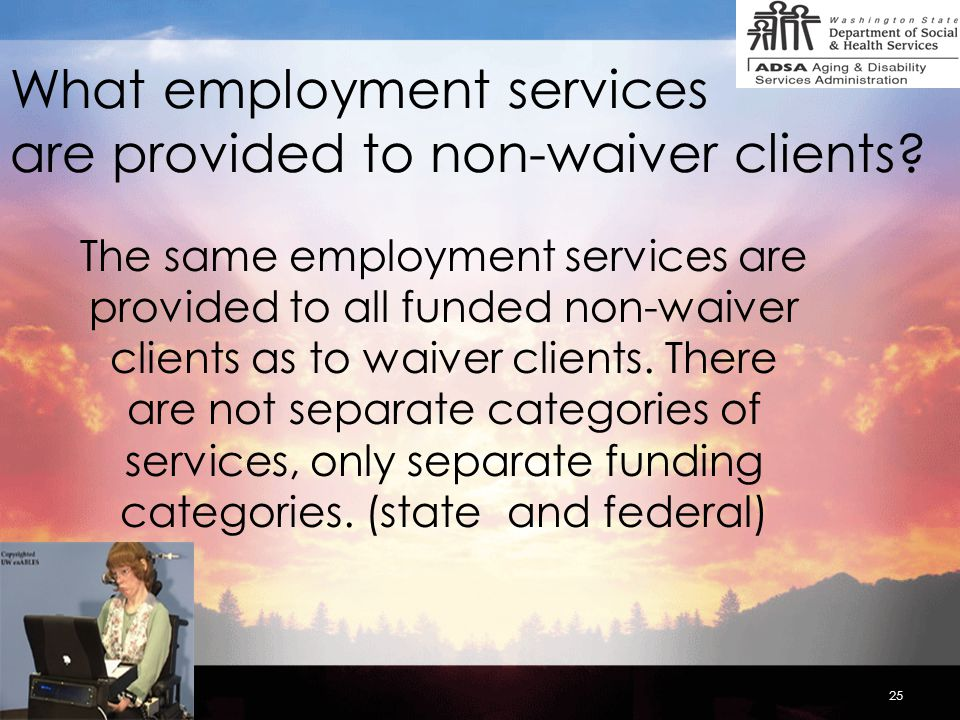 25 What employment services are provided to non-waiver clients.