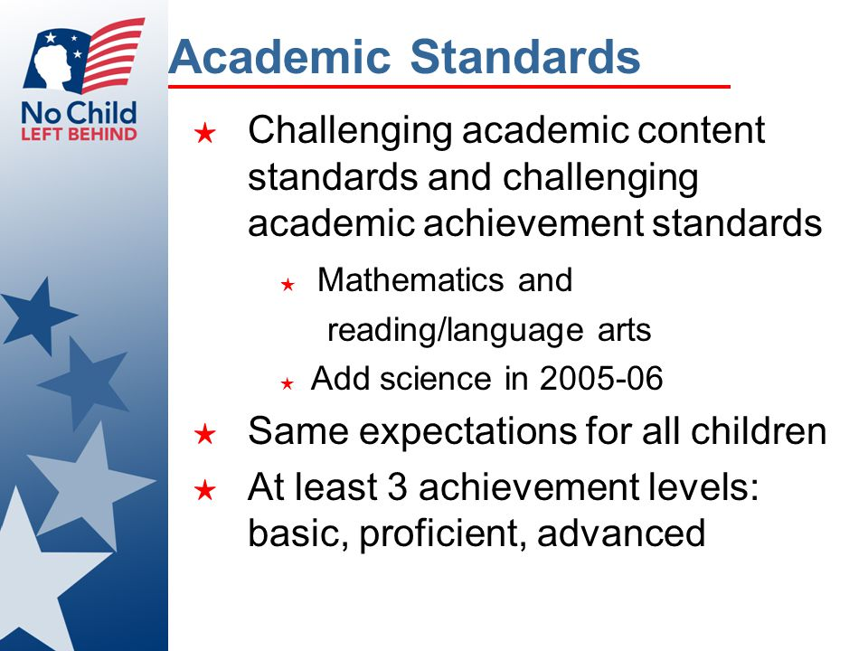 Academic Standards ★ Challenging academic content standards and challenging academic achievement standards ★ Mathematics and reading/language arts ★ A