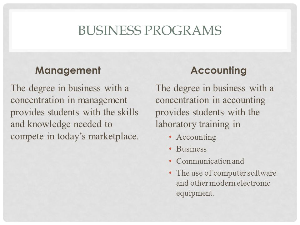 BUSINESS PROGRAMS Management The degree in business with a concentration in management provides students with the skills and knowledge needed to compete in today's marketplace.
