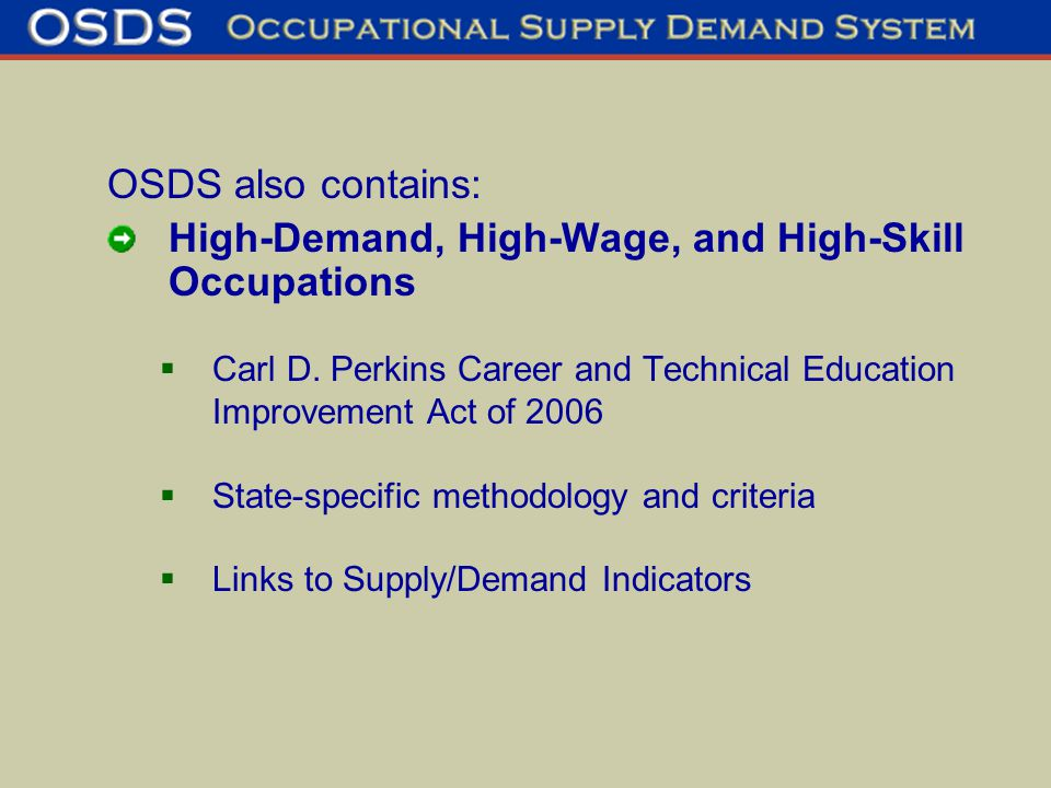 OSDS also contains: High-Demand, High-Wage, and High-Skill Occupations  Carl D.