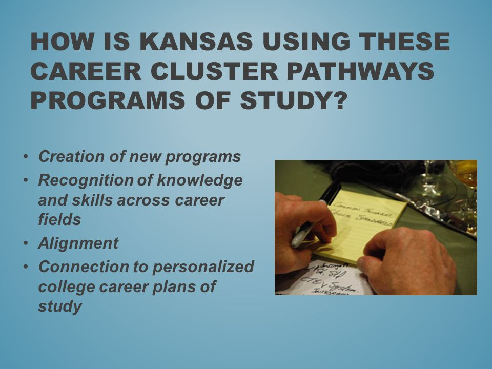HOW IS KANSAS USING THESE CAREER CLUSTER PATHWAYS PROGRAMS OF STUDY.