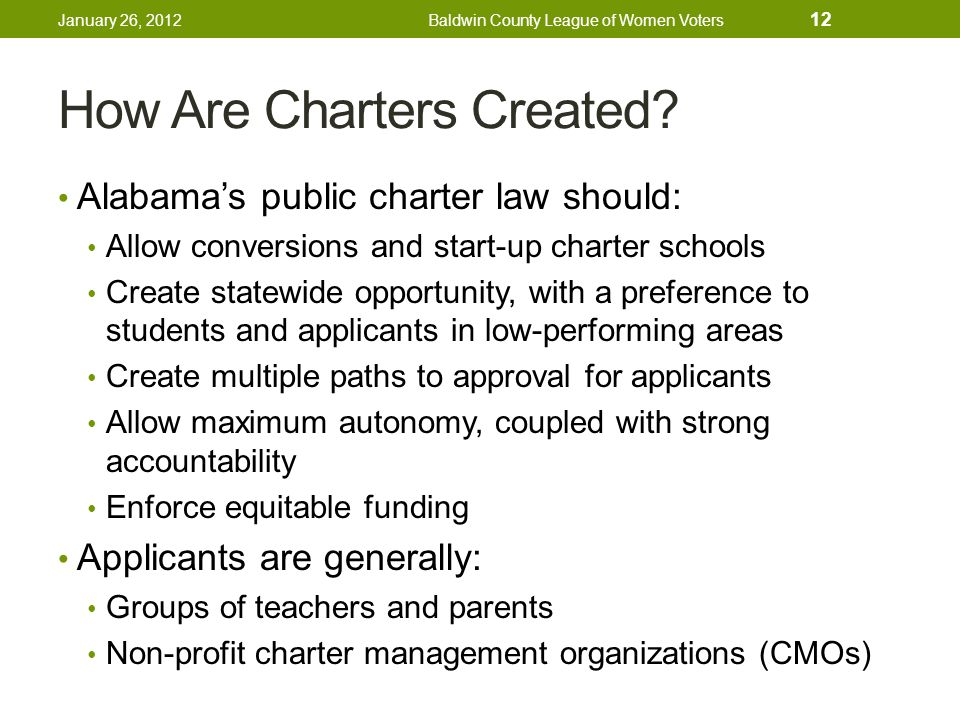 How Are Charters Created.