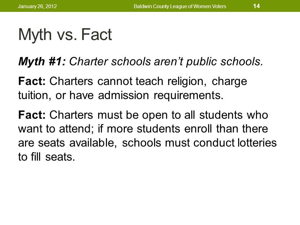 Myth vs. Fact Myth #1: Charter schools aren't public schools.