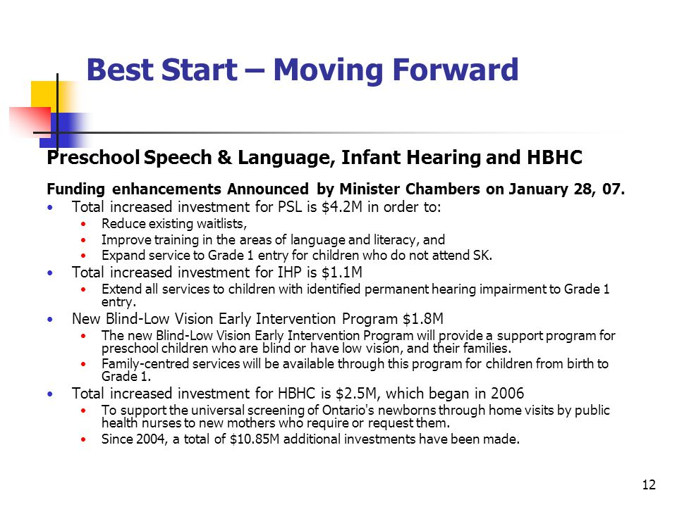 12 Best Start – Moving Forward Preschool Speech & Language, Infant Hearing and HBHC Funding enhancements Announced by Minister Chambers on January 28, 07.