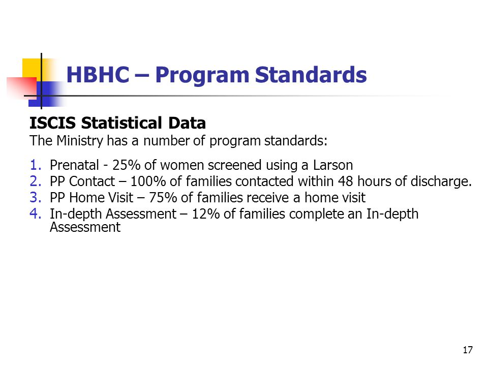 17 ISCIS Statistical Data The Ministry has a number of program standards: 1.