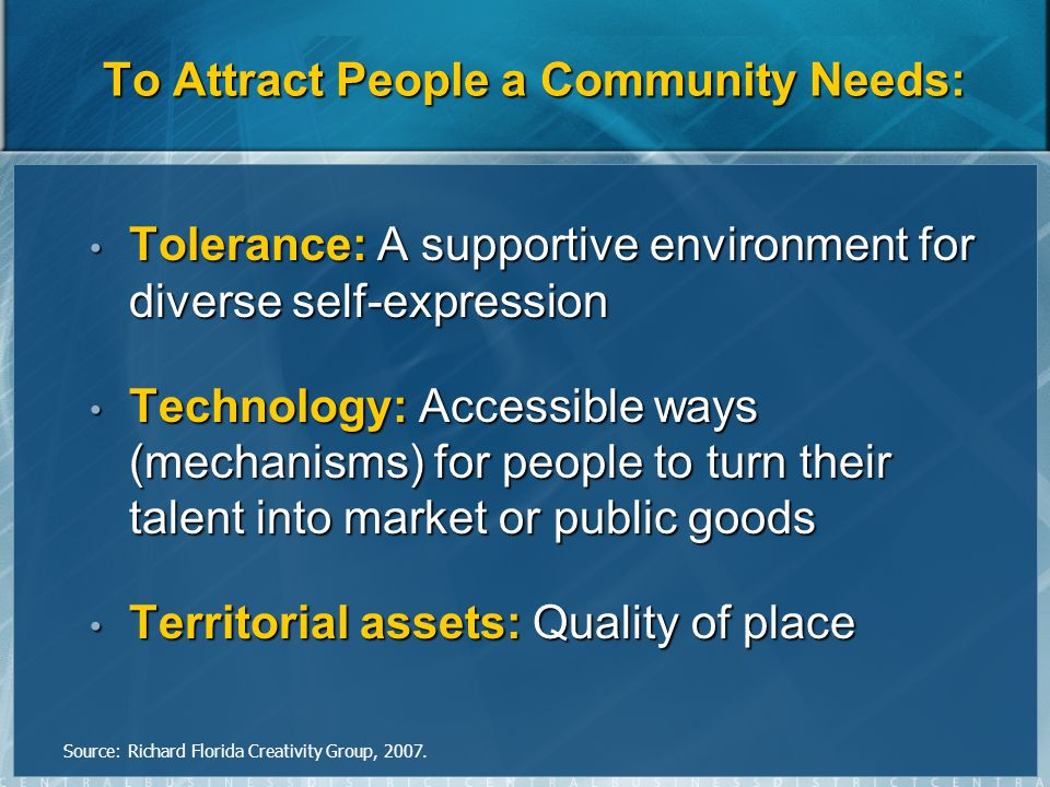 To Attract People a Community Needs: Tolerance: A supportive environment for diverse self-expression Tolerance: A supportive environment for diverse self-expression Technology: Accessible ways (mechanisms) for people to turn their talent into market or public goods Technology: Accessible ways (mechanisms) for people to turn their talent into market or public goods Territorial assets: Quality of place Territorial assets: Quality of place Source: Richard Florida Creativity Group, 2007.
