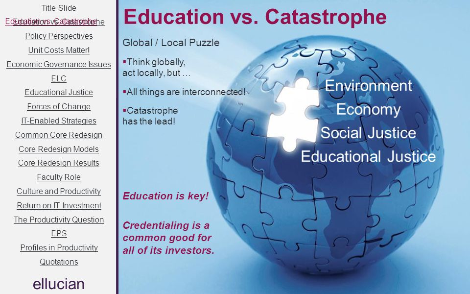 Title Slide Education vs. Catastrophe Policy Perspectives Unit Costs Matter! Economic Governance Issues ELC Educational Justice Forces of Change IT-En