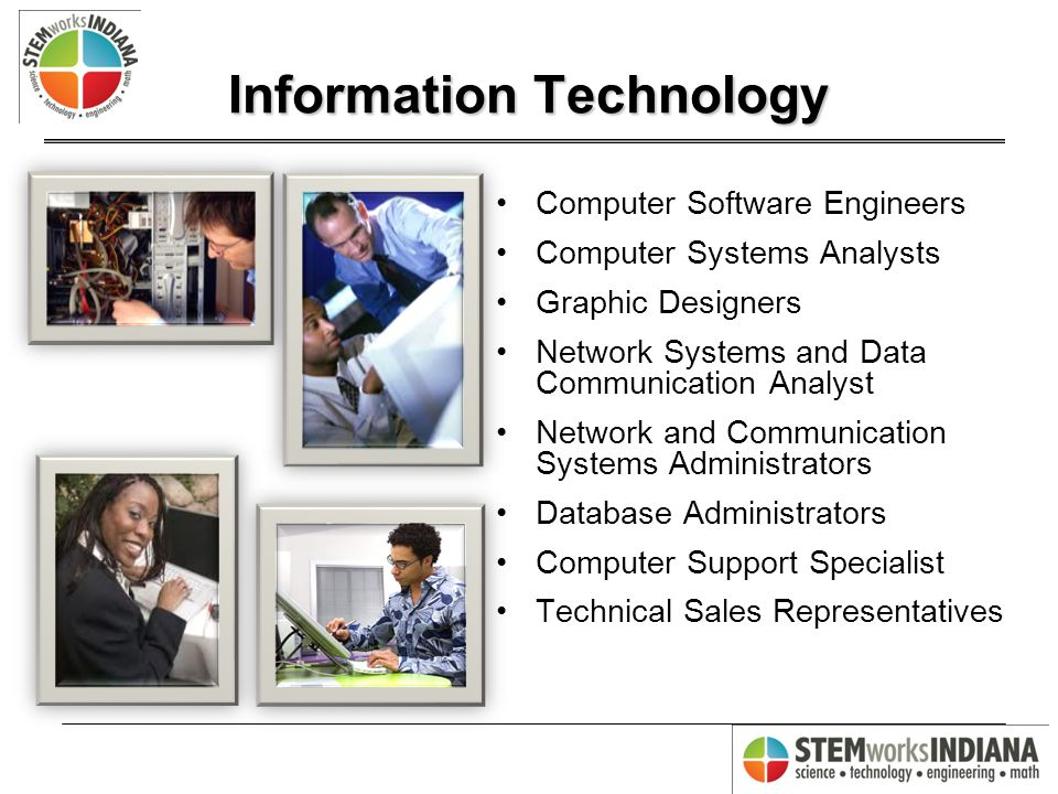Information Technology Computer Software Engineers Computer Systems Analysts Graphic Designers Network Systems and Data Communication Analyst Network and Communication Systems Administrators Database Administrators Computer Support Specialist Technical Sales Representatives