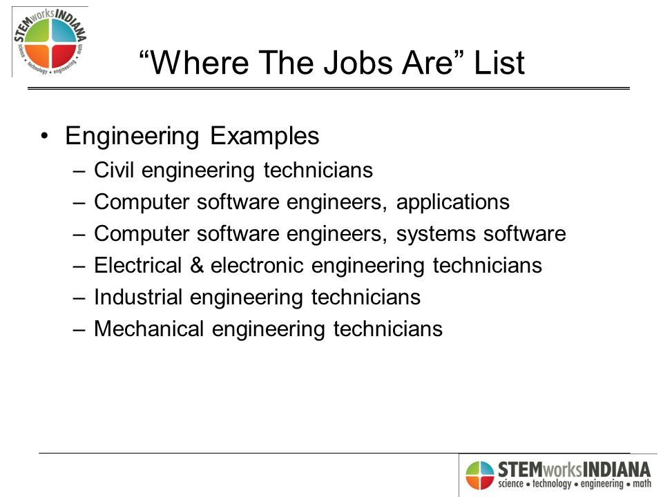 Where The Jobs Are List Engineering Examples –Civil engineering technicians –Computer software engineers, applications –Computer software engineers, systems software –Electrical & electronic engineering technicians –Industrial engineering technicians –Mechanical engineering technicians
