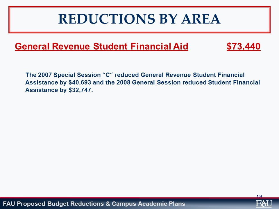 FAU Proposed Budget Reductions & Campus Academic Plans 104 REDUCTIONS BY AREA General Revenue Student Financial Aid $73,440 The 2007 Special Session C reduced General Revenue Student Financial Assistance by $40,693 and the 2008 General Session reduced Student Financial Assistance by $32,747.