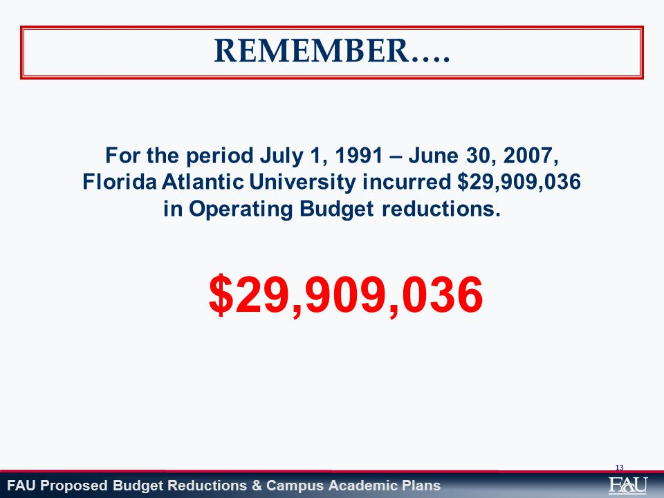 FAU Proposed Budget Reductions & Campus Academic Plans 13 REMEMBER…. For the period July 1, 1991 – June 30, 2007, Florida Atlantic University incurred