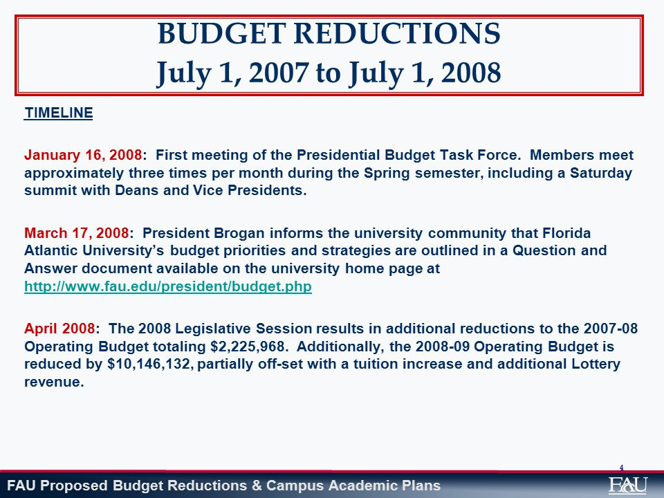 FAU Proposed Budget Reductions & Campus Academic Plans 95 REDUCTIONS BY AREA President ' s Area (President ' s Office, General Counsel, Equal Opportunities Programs, Governmental Relations and Inspector General) $185,650 Elimination of 1.5 positions (all unfilled positions) Elimination of student internships; substitute college work study Elimination of university memberships Reduction of operating expenses