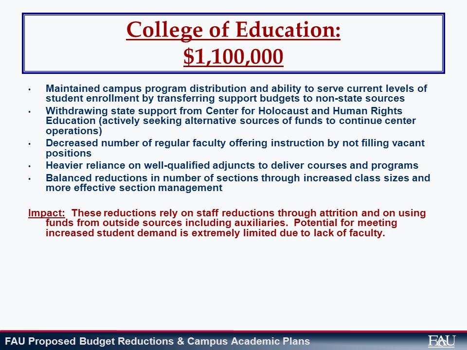 FAU Proposed Budget Reductions & Campus Academic Plans College of Education: $1,100,000 Maintained campus program distribution and ability to serve current levels of student enrollment by transferring support budgets to non-state sources Withdrawing state support from Center for Holocaust and Human Rights Education (actively seeking alternative sources of funds to continue center operations) Decreased number of regular faculty offering instruction by not filling vacant positions Heavier reliance on well-qualified adjuncts to deliver courses and programs Balanced reductions in number of sections through increased class sizes and more effective section management Impact: These reductions rely on staff reductions through attrition and on using funds from outside sources including auxiliaries.