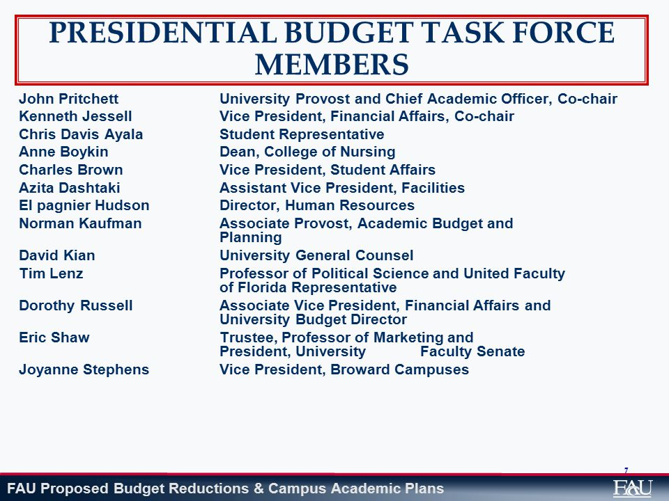 FAU Proposed Budget Reductions & Campus Academic Plans College of Engineering and Computer Science: $939,333 Reorganized scope of program offerings on each campus (refer to exhibit on campus academic programs) with cessation of Computer Science and Engineering program in Davie to concentrate on meeting high enrollment demand in other departments Conversion of 12-month faculty appointments to more traditional 9-month appointments Moratorium on replacing senior level faculty who have had primarily non- instructional assignments Staff reassignments to maximize productivity Restructure summer programs to maximize value to students by shifting required elements to fall and spring semesters Impact: These reductions rely in part on faculty and staff reassignments, but do include several non-renewals of current personnel.