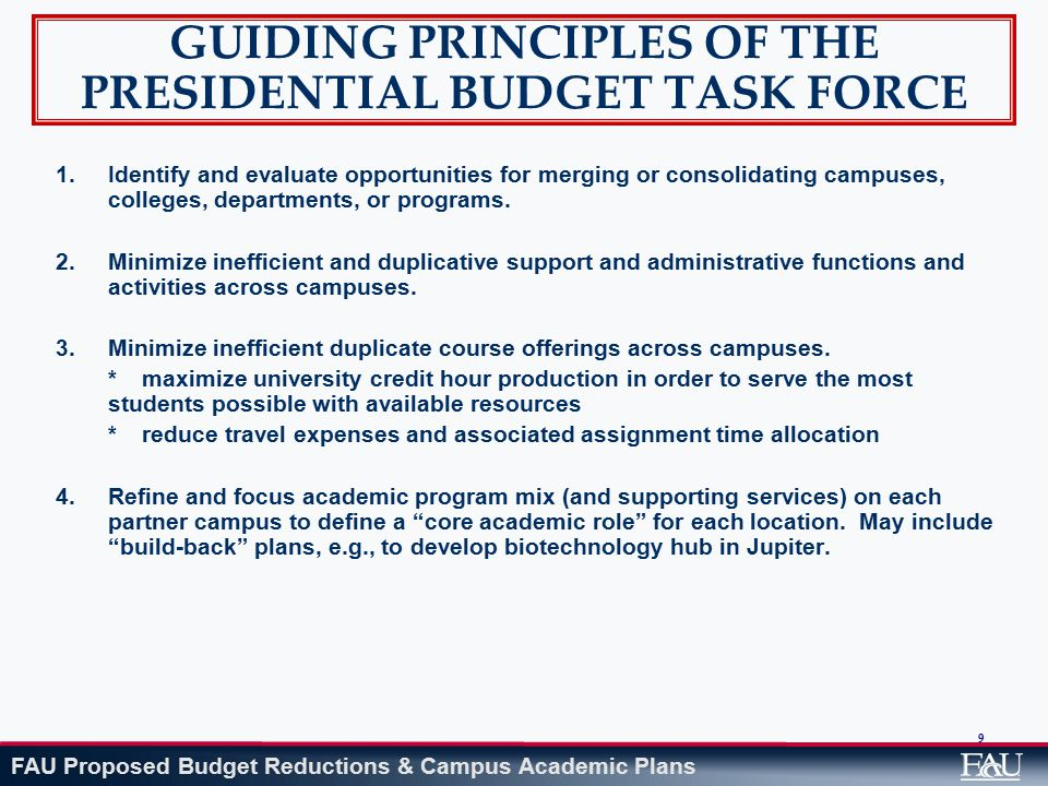 FAU Proposed Budget Reductions & Campus Academic Plans 100 REDUCTIONS BY AREA Student Affairs$171,078 Elimination of three positions (two unfilled positions) One of the positions moved to Auxiliary Fund – Orientation Program funding
